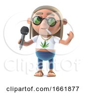 Poster, Art Print Of 3d Hippie Stoner Has The Microphone