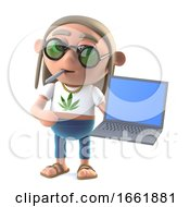 Poster, Art Print Of 3d Hippie Stoner Has A New Laptop Pc