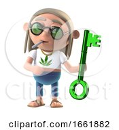 3d Hippie Stoner Holding A Green Metallic Key