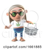 Poster, Art Print Of 3d Hippie Stoner With Shopping Basket