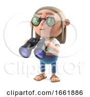 Poster, Art Print Of 3d Hippy Stoner Has A Pair Of Binoculars