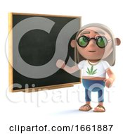 Poster, Art Print Of 3d Hippy Stoner At The Blackboard