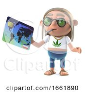 Poster, Art Print Of 3d Hippie Stoner Pays With A Debit Card