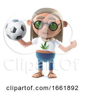Poster, Art Print Of 3d Hippie Stoner Loves Soccer