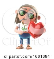 Poster, Art Print Of 3d Hippie Stoner Is In Love