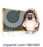 3d Hedgehog Teaches At The Blackboard