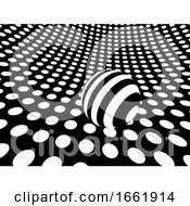 Curved Monochrome Polka Dot Surface With Sphere