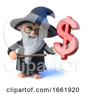 3d Wizard Magician Character Waving His Wand At A US Dollar Currency Symbol by Steve Young