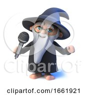 3d Wizard Magician Singing Into A Microphone
