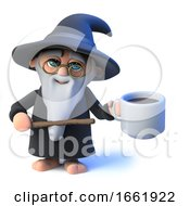 3d Wizard Magician Points To A Cup Of Coffee by Steve Young