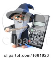 3d Wizard Magician Points To A Calculator With His Magic Wand by Steve Young