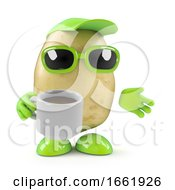 Poster, Art Print Of 3d Potato Has A Coffee Break