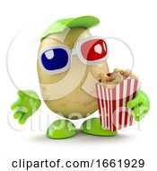Poster, Art Print Of 3d Potato Eays Popcorn At The Movies