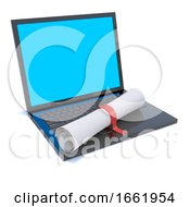 3d Laptop Pc With Diploma Scroll