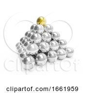 3d Silver Pyramid With Gold Top