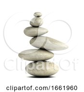 3d Smooth Rocks In Balanced Arrangement
