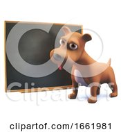 Clever 3d Puppy Dog Standing By The Blackboard