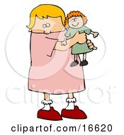 Little Blond Caucasian Girl Child Holding And Hugging Her Red Haired Doll Toy While Playing