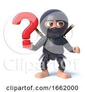 3d Ninja Assassin Character Holding A Question Mark Symbol