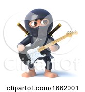 Poster, Art Print Of 3d Ninja Assassin Character Playing An Electric Guitar