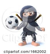 3d Ninja Assassin Warrior Character Holding A Football