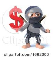 3d Ninja Assassin Character Has US Dollar Currency Symbol