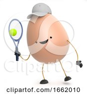Poster, Art Print Of 3d Cute Toy Egg Playing Tennis