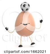 Poster, Art Print Of 3d Cute Toy Egg Balances A Soccer Ball In His Head
