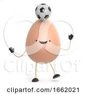 3d Cute Toy Egg Balances A Soccer Ball In His Head
