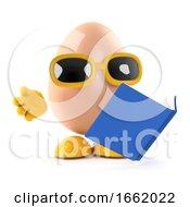 Poster, Art Print Of 3d Egg Reads A Book
