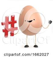3d Funny Cartoon Egg Character Holding A Hash Tag Symbol