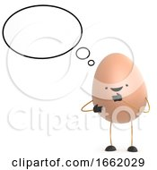 3d Cute Toy Egg With Thought Bubble
