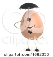 Poster, Art Print Of 3d Cute Toy Egg Shelters Under An Umbrella