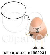 Poster, Art Print Of 3d Cute Toy Egg With Thought Bubble