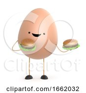 Poster, Art Print Of 3d Cute Toy Egg Has Two Burgers