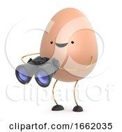 Poster, Art Print Of 3d Cute Toy Egg Has A Pair Of Binoculars