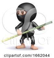 3d Ninja Has Bamboo Pole