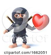 Poster, Art Print Of 3d Funny Cartoon Ninja Assassin Warrior Character Holding A Romantic Heart Love Symbol
