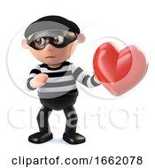 Poster, Art Print Of 3d Burglar Has Stolen Someones Heart
