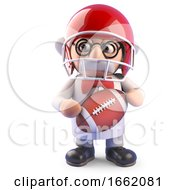 Nutty Mad Scientist Professor Character Playing American Football