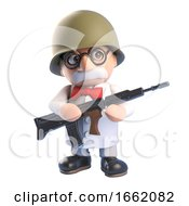 Mad Professor Of Science Character Dressed As A Soldier Holding A Rifle Gun