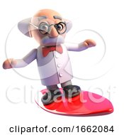Cool Mad Professor Scientist Character Surfing On A Surfboard
