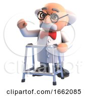 Infirm Old Mad Scientist Professor Character Has To Walk With A Zimmer Frame Now