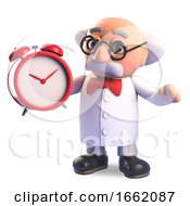 Mad Scientist Professor Character Setting His Alarm Clock For The Morning Wake Up