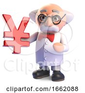 Mad Professor Scientist Character Holding A Japanese Or Chinese Yen Or Yuan Symbol