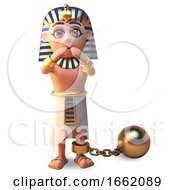 Pharaoh Tutankhamun Character Is Hindered By A Gold Ball And Chain by Steve Young