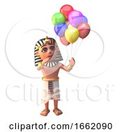 3d Pharaoh Tutankhamun Character Holding Many Coloured Party Balloons For A Celebration by Steve Young