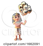 Pharaoh Tutankhamun 3d Character Holding Many Gold Party Celebration Balloons 3d Illustration by Steve Young