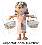 3d Pharaoh Tutankhamun Character Holding Two Empty Shopping Baskets