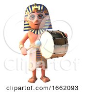 3d Tutankhamun Pharaoh Character Playing A Gold Bass Drum by Steve Young